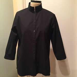 Eileen Fisher Black Stretch Cotton Jacket S